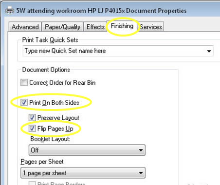 Printer properties -> print on both sides -> flip pages up!